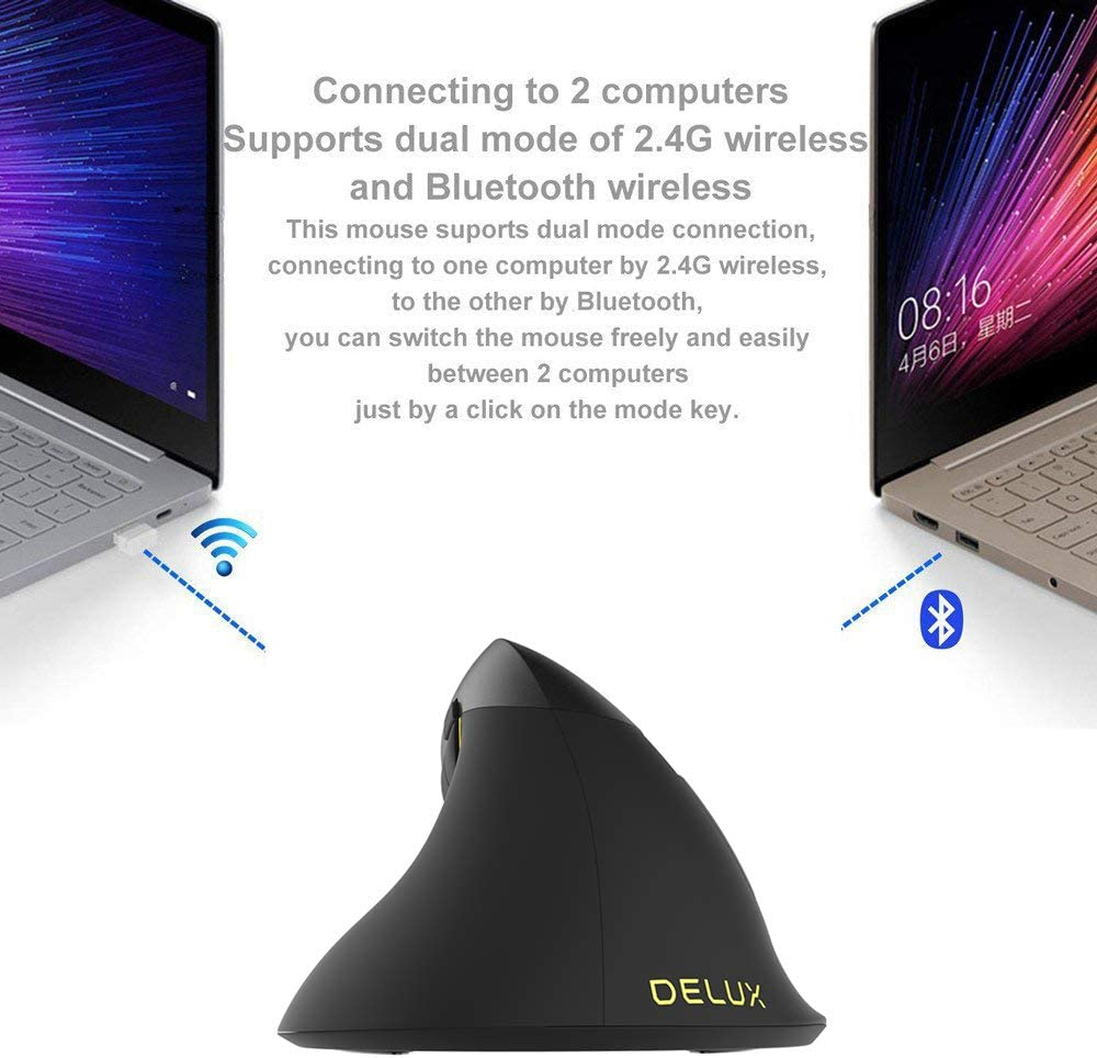 Mice for PC Laptop Compatible with Mac for Mens and Women Improved Wrist Posture Bluetooth 4.0 Rechargeable 2400 DPI RGB Vertical Mouse Yehyep Vertical Mouse Wireless Mini 2.4Ghz