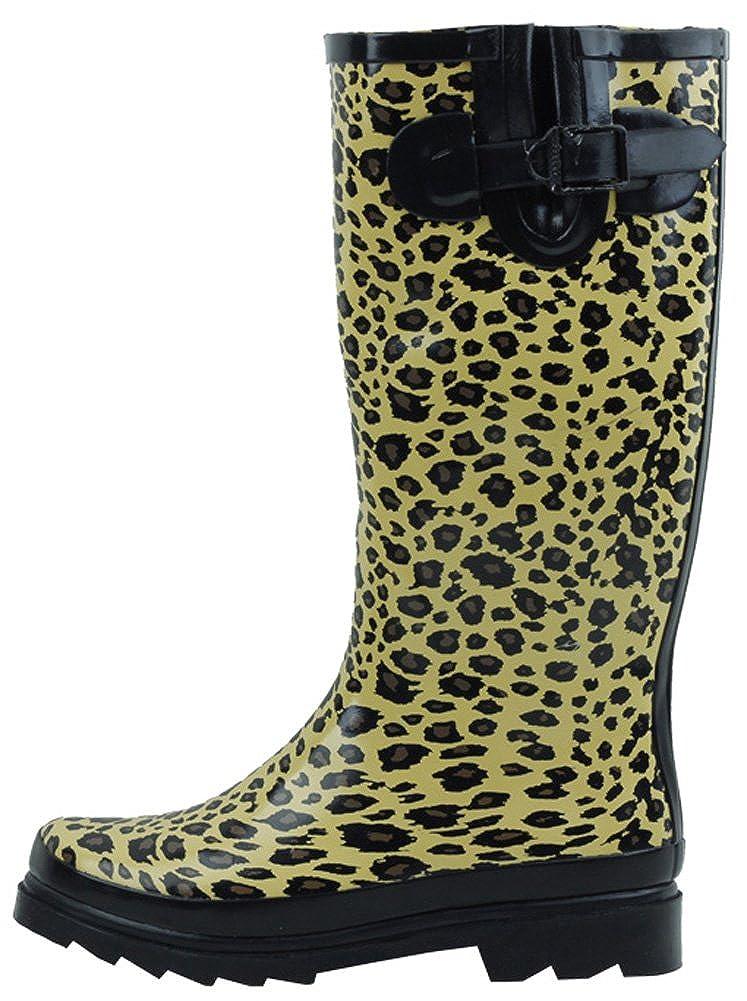 Leopard Black Cambridge Select Women's Waterproof Pattern Print Knee High Welly Rain Boot
