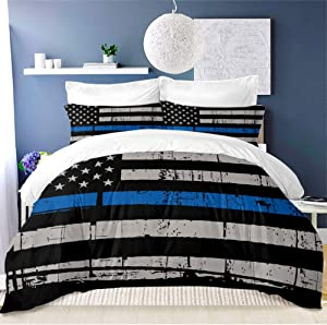 ARL HOME American Flag Bedding Set 3PC King Size Blue Stripe USA Flag Duvet Cover Fourth of July Independence Day Retro Stripe USA Flag Quilt Cover Blue Black USA Flag Comforter Cover(2 Pillow Cases)