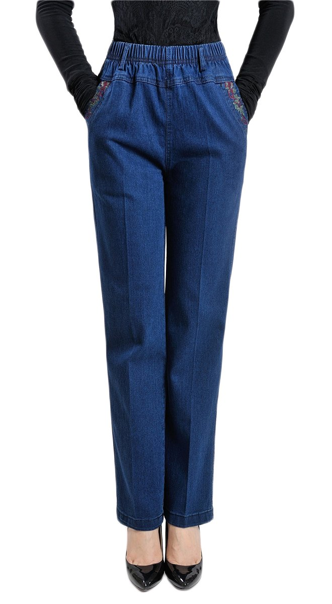 Soojun Womens Straight Jeans Floral Embroidered Elastic Waist Jeans, Blue, X-Large