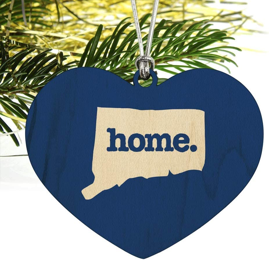 Connecticut CT Home State Solid Navy Wood Christmas Tree Ornament