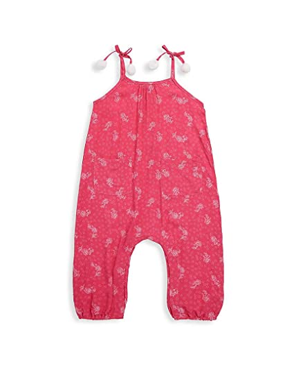 03b362a665c Jessica Simpson Girl s One Piece Tie Shoulder Elastic Ankles Pocket Romper  Teaberry Floral 4