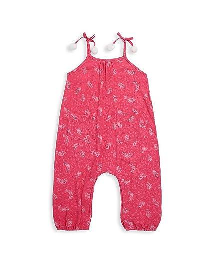 60936ed0d833 Jessica Simpson Girl s One Piece Tie Shoulder Elastic Ankles Pocket Romper  Teaberry Floral 4