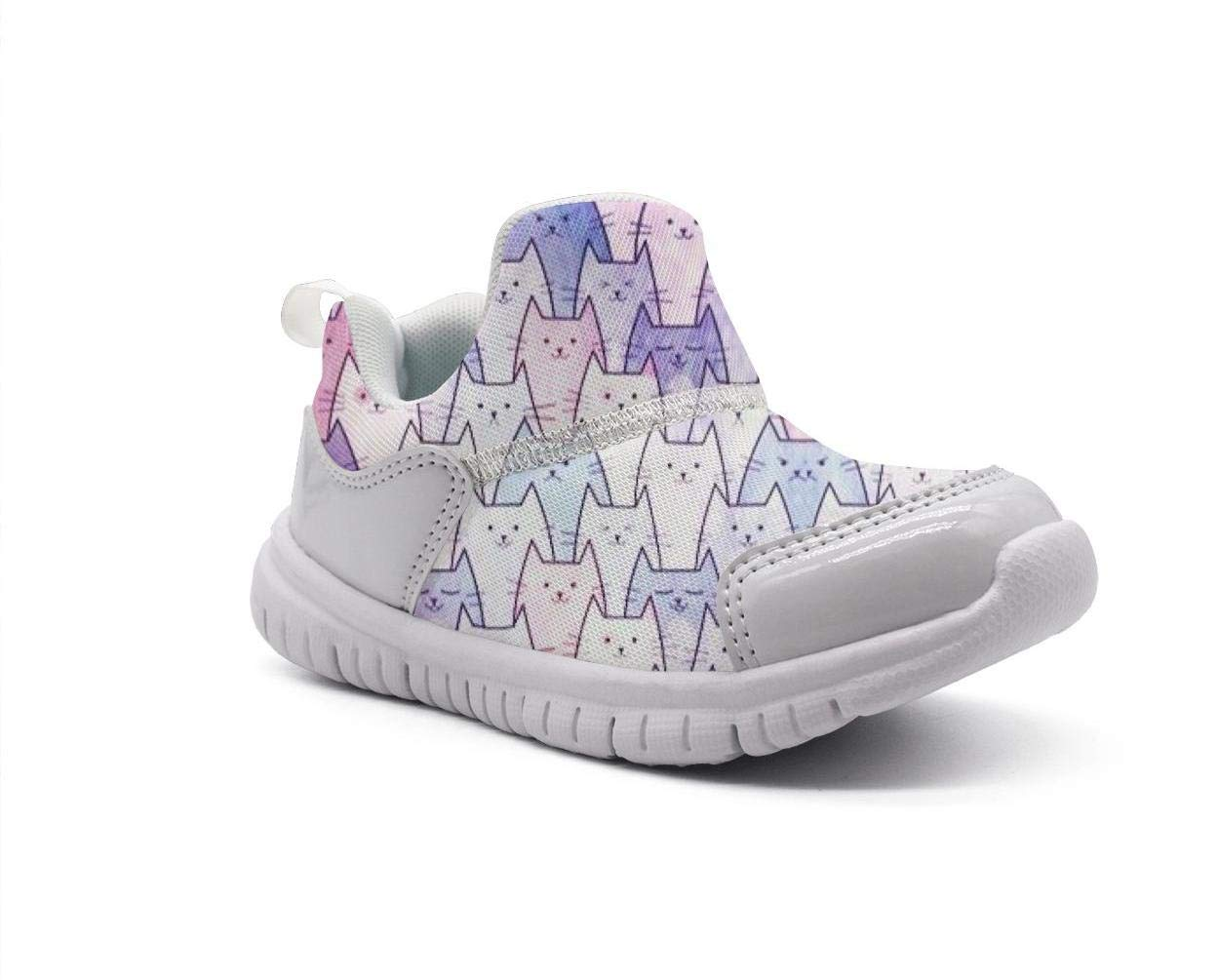 ONEYUAN Children Watercolors Cats Galaxy Kid Casual Lightweight Sport Shoes Sneakers Running Shoes
