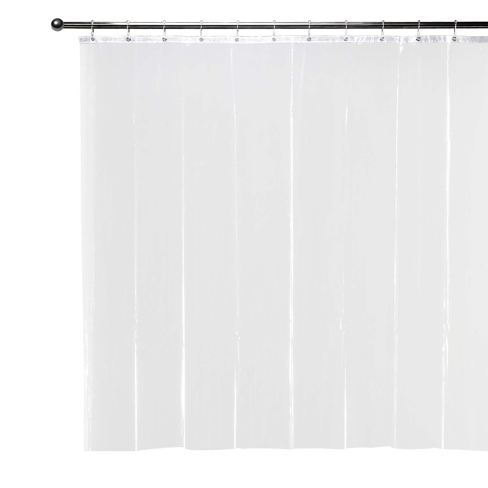 Shower Curtain Liner Clear with 12 Hooks Mold Mildew Resistant Antibacterial with Rustproof Grommets, Eco Friendly Odorless Non Toxic Waterproof Quick Dry Bathroom Curtains Moonen 72x72 Inches