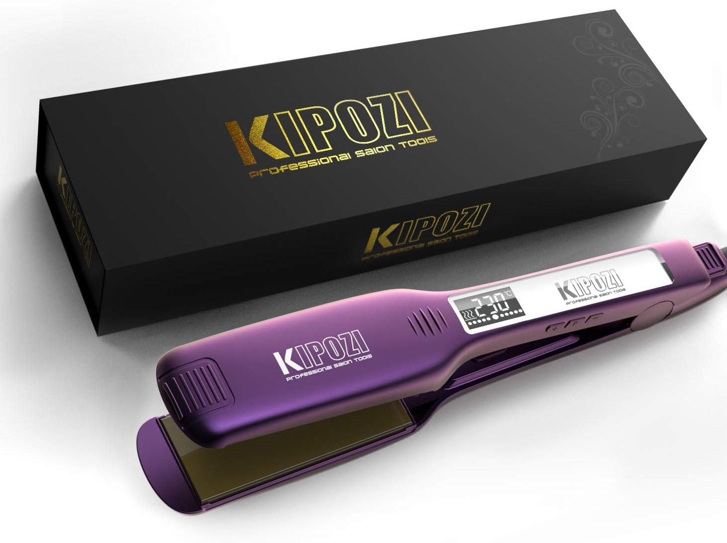 KIPOZI Planchas del Pelo Profesionales con Placa Ancha de Titanio y Pantalla Digital LCD, Adecuada para Todo Tipo de Cabello, Doble Voltaje (Púrpura)