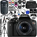 Canon EOS Rebel T6i DSLR Camera with 18-55mm Lens 27PC Accessory Bundle - Includes Canon EF-S 55-250mm f/4-5.6 IS STM Lens + 0.43x Wide Angle Lens + 2x Telephoto Lens + MORE