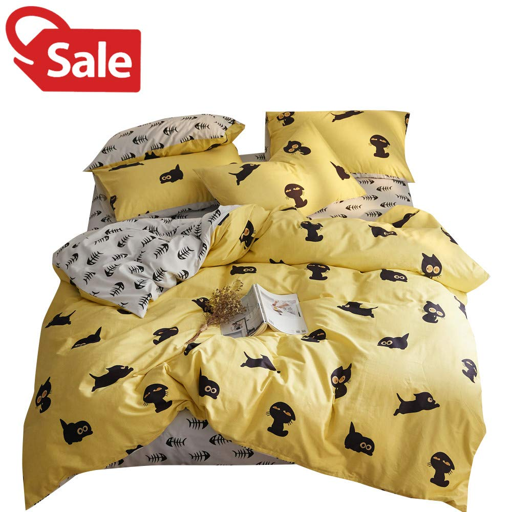 Lovely Kitty Yellow White Full Kids Boys Girls Bedding Duvet Cover Set Black Cat Pattern 100% Cotton Queen Bedding Collections for Children Teen Adults by BoxHome