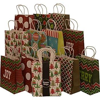 Amazon Com Assorted Christmas Kraft Paper Gift Bags