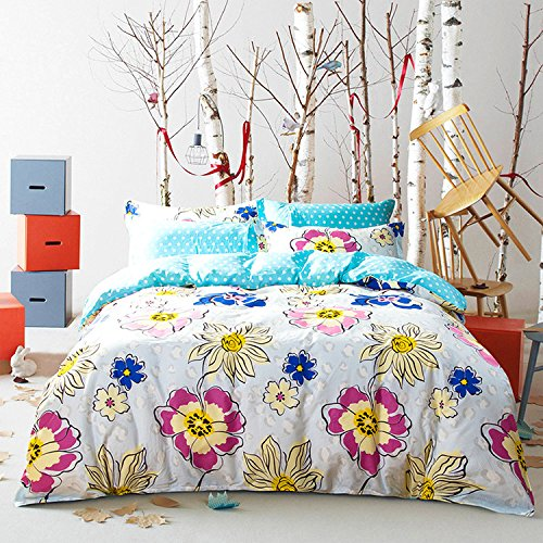 Mumgo Bedding Sets for Adult Girl Big Flower Pattern Duvet Cover,Flat Sheet,Pillowcases,100% Duvet Cover Set 4 Piece Full/Queen,Not Include Comforter by WarmGo