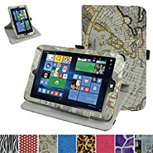"Insignia NS-P08W7100 Rotating Case,Mama Mouth 360 Degree Rotary Stand With Cute Lovely Pattern Cover For 8"" Insignia Flex NS-P08W7100 Windows 10 Tablet 2016,Map White"
