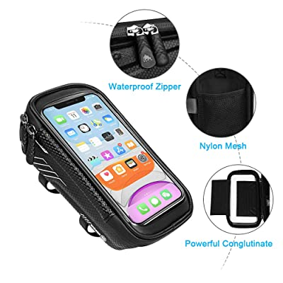 Bike Front Frame Phone Mount Pack Large Capacity Storage Bag Touch Screen Case