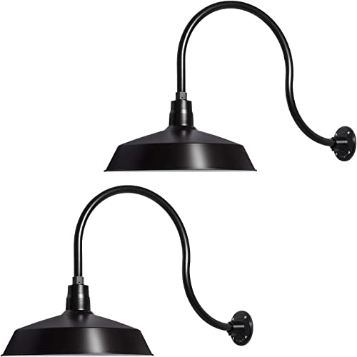 17in. Satin Black Outdoor Gooseneck Barn Light Fixture with 24in. Long Extension Arm – Wall Sconce Farmhouse, Vintage, Antique Style – UL Listed – 9W 900lm A19 LED Bulb 5000K Cool White – 2PCK