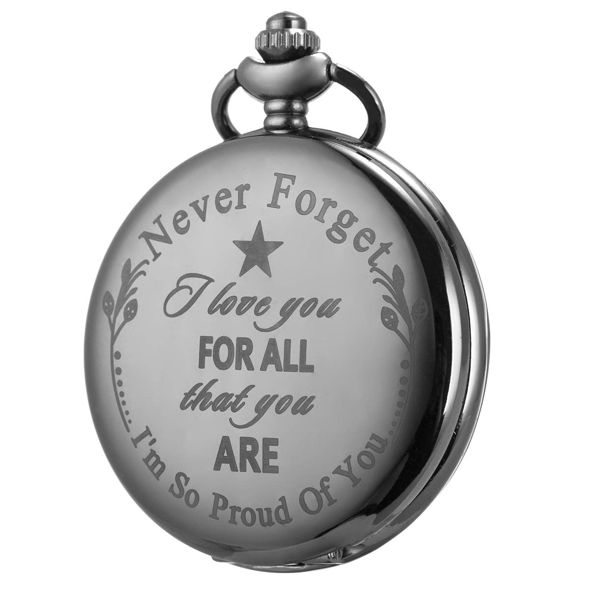 Pocket Watch Men Personalized Black Chain SIBOSUN I Love You for All That You are I am So Proud of You