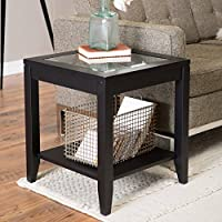 Shelby Glass Top End Table with Quatrefoil Underlay