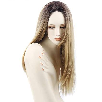 Parrucca Bionda Lunga Parrucche Donna Partito Cosplay Capelli Naturale  Sintetica Parrucca Folta Liscia Biondo Accessorio Di 819df30a0b07
