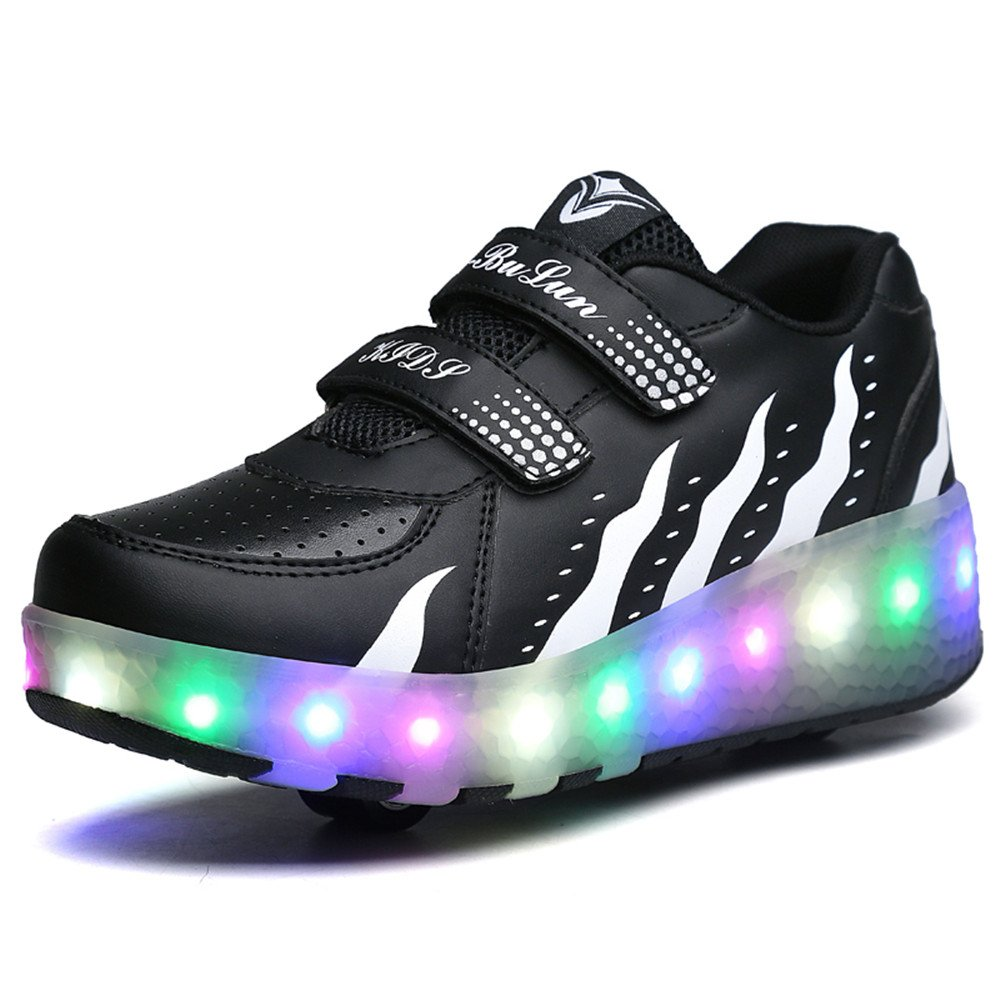 LED Light Up Blink Single Wheel Roller Skate Shoes Fashion Sports Flashing Sneaker Boys Girls Kid (Black 1 M US Little Kid)