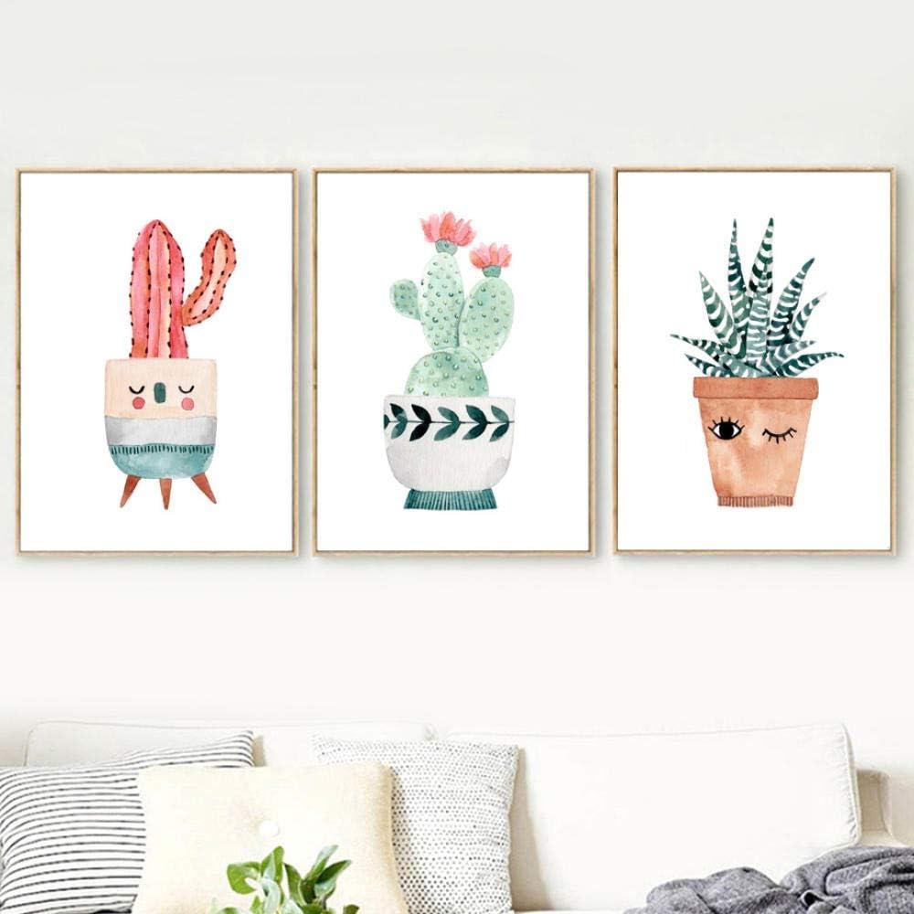Vivero Decoración de la habitación del bebé Acuarela Dibujos animados Cactus en maceta Flor LienzoNórdico Carteles e impresiones Arte de la pared Fotos-50X70Cmx3 Piezas Sin marco