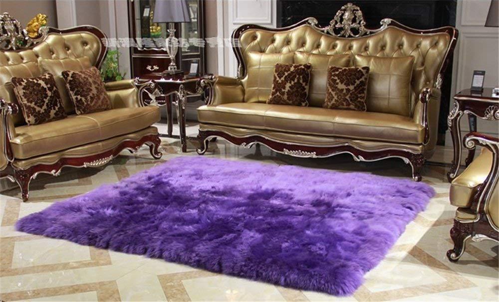 Flauschige Wolle Schaffell Pelz Teppiche, Gemütlich Weich Lammfell Teppich, Super Plüsch- 6 cm Behaart Matratze,200x280cm(79x110inch)