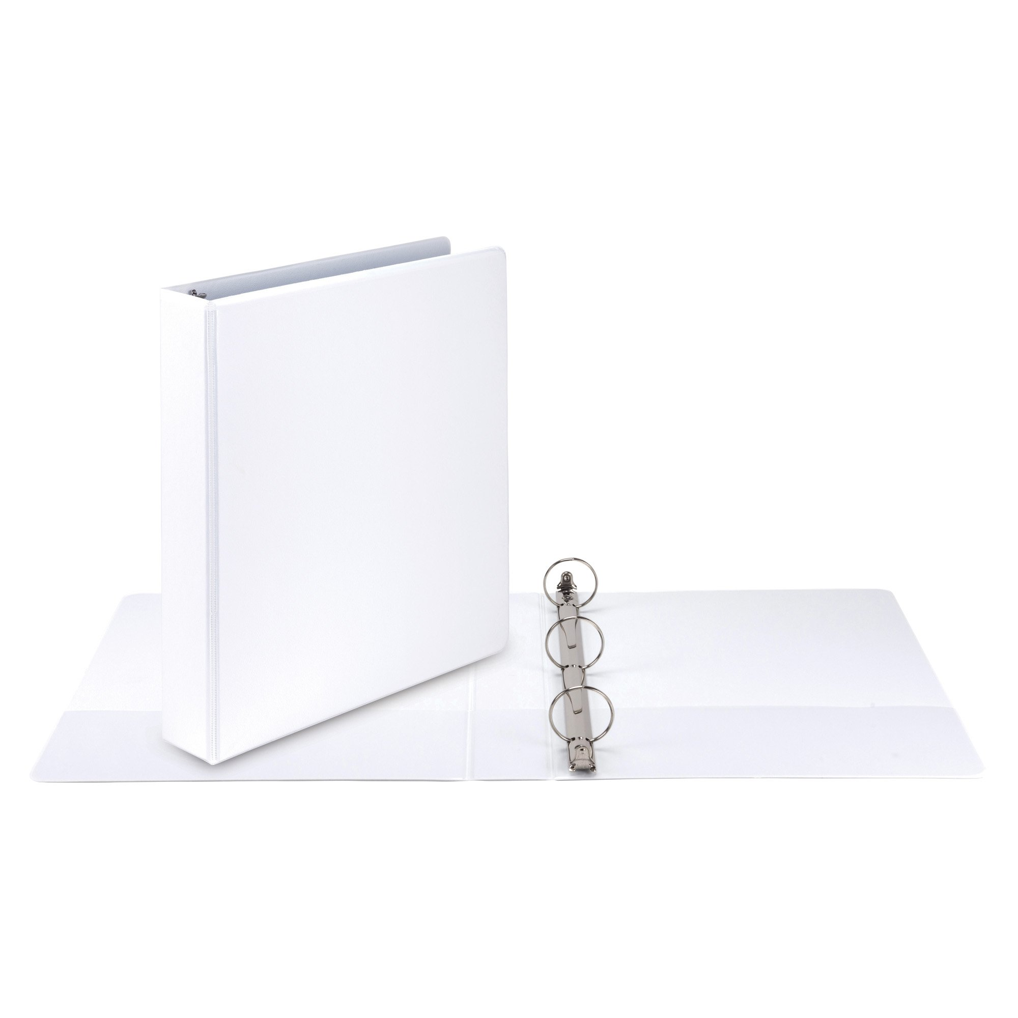Samsill Economy 3 Ring View Binder, 1.5 Inch Round Ring – Holds 350 Sheets, PVC-Free / Non-Stick Customizable  Cover, White, 12 Pack by Samsill (Image #5)