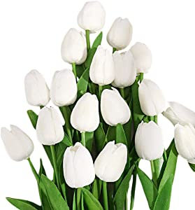30PCS Real-Touch PU Artificial Tulip Flowers for Home Wedding Party Decor