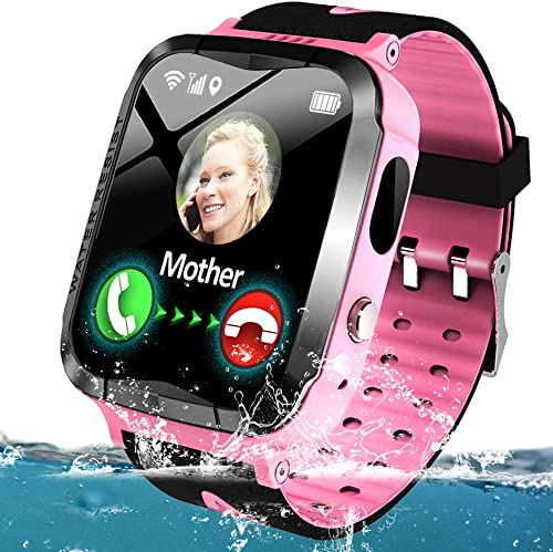 Kids Smart Phone Watch Waterproof GPS LBS Tracker for 3-12 Year Girls Boys Two-Way Call SOS Micro Chat Camera Camera Anti-Lost Math Game Swim Camp Electronic Learning Toy Holiday Birthday Gifts