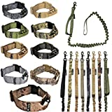FDC Dog Tactical COLLAR with LEASH Bungee Handle HEAVY DUTY Training Military Army Molle WIDTH 1.5in Plastic Buckle TAG HOLE Medium Large M, L, XL, XXL (XL: Neck 16' - 20', Coyote Desert Tan)