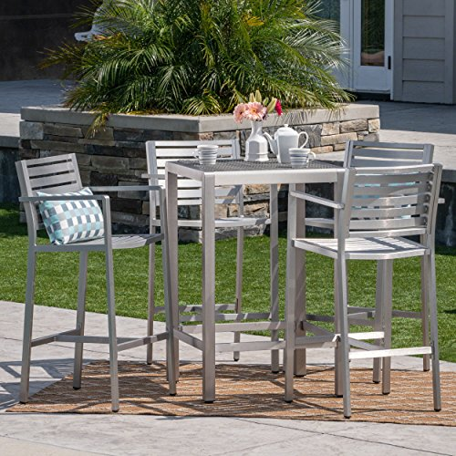 Great Deal Furniture | Tracy | Outdoor 5-Piece Rust-Proof Aluminum Bar Set | with Wicker Top Bar Table | Silver/Grey