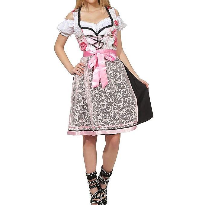 Puimentiua Vestido Dirndl para Mujer Disfraz de Bávaro de ...
