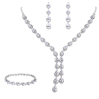 FANZE Women's Prong All Round Cubic Zirconia Sparkling Wedding Bridal Necklace Dangle Earrings Jewelry Set SmCgIoNI1z