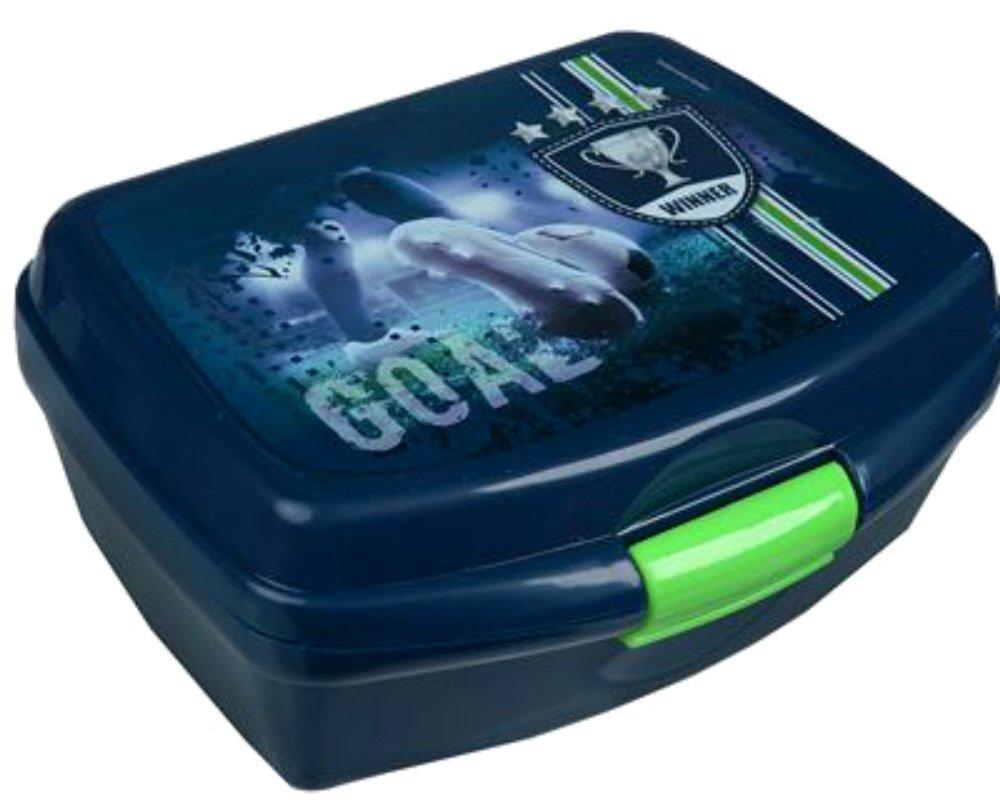 Unbekannt Fussball Fußball Brotbox Brotdose Lunchbox in Blau mit Klickverschluss Leichtes Material Vesperdose Frühstücksbox für Kinder