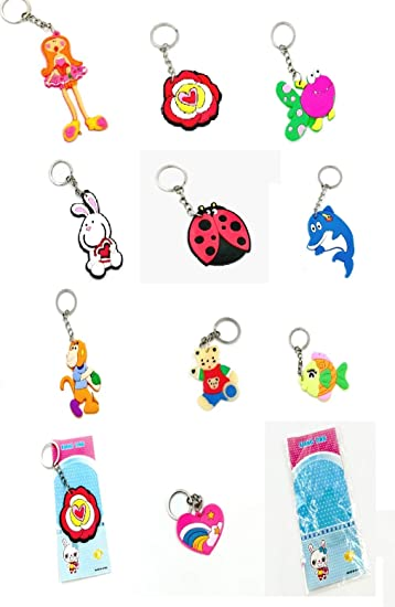 Pack Of 12 Random Design Rubber Embossed Key Chain For Birthday Return Gifts Amazonin Bags Wallets Luggage
