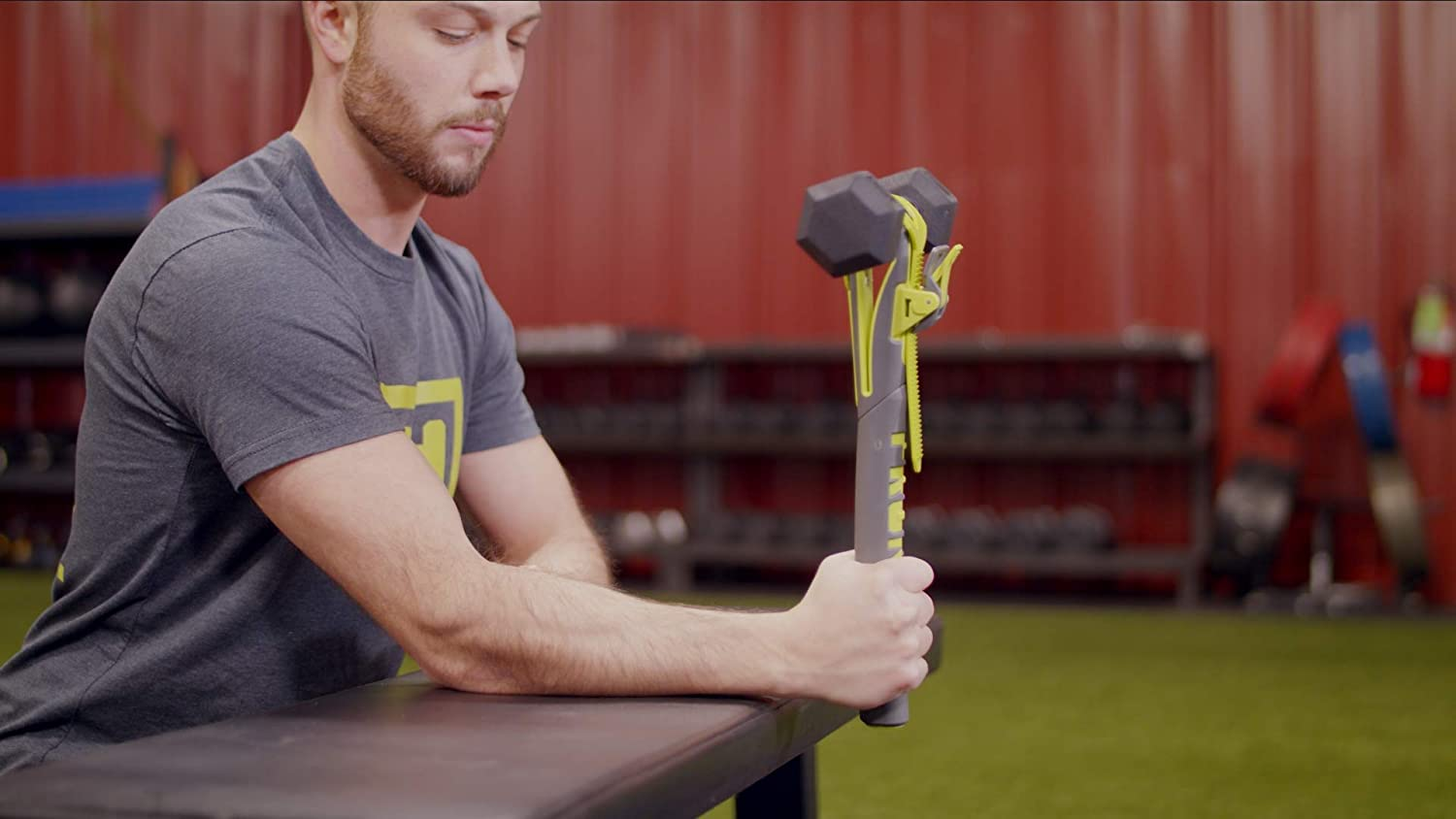 Green and Grey PRONATOR Build Arm Strength Using Any Dumbbell
