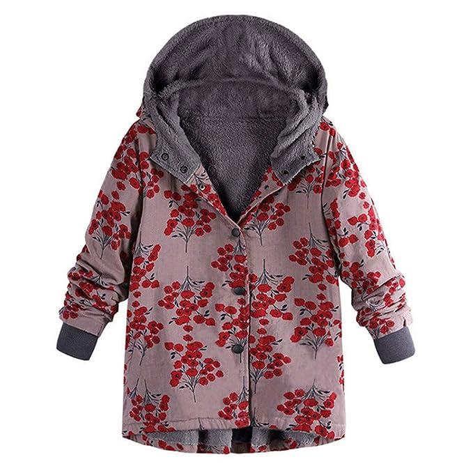 Amphia Abrigo Estampado, Botones Abrigos Mujer -Abrigo con Capucha -Abrigo Corto Mujer -
