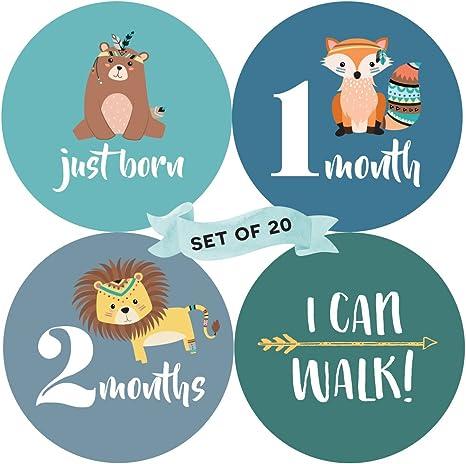 Juego de 20 Beb/é Mensual hito pegatinas /nacimiento a 12/meses 7/Bonus logro pegatinas /