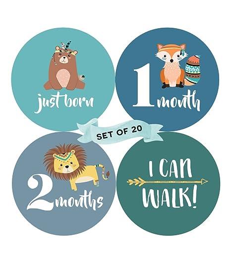 Bebé Mensual hito pegatinas (Juego de 20) – nacimiento a 12 meses + 7 Bonus logro pegatinas