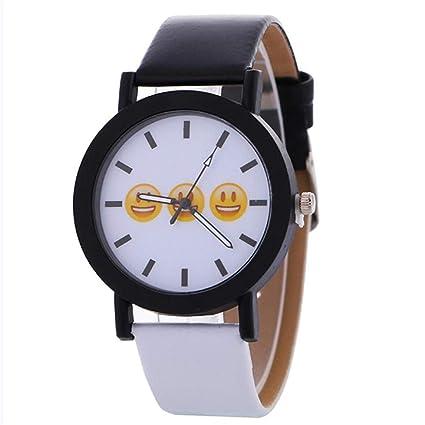 Casual Women Watch Expression Black and White Pattern Fashion Leather Quartz Wrist Watch Neutral Clock Ladies