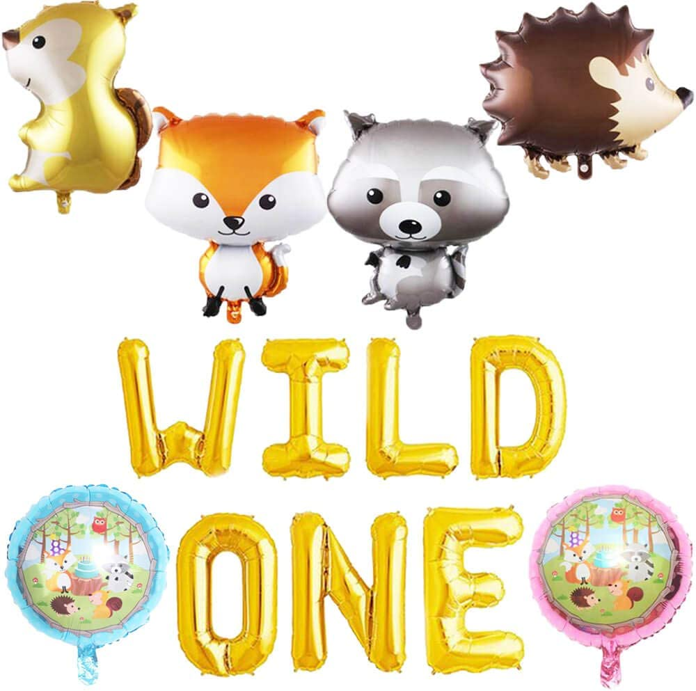 Wild One Balloons, Woodland Fox Balloons, Feather Arrow Teepee Boho Tribal Party Banner, Wild One Baby Shower 1st Birthday Party Supplies Decorations
