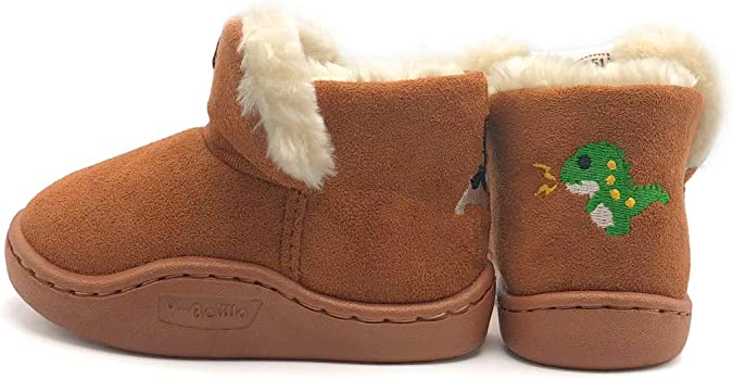 Kids Baby Girl Warm Fur Lined Ankle Boots Infant Winter Slip On Ankle Snow Boots