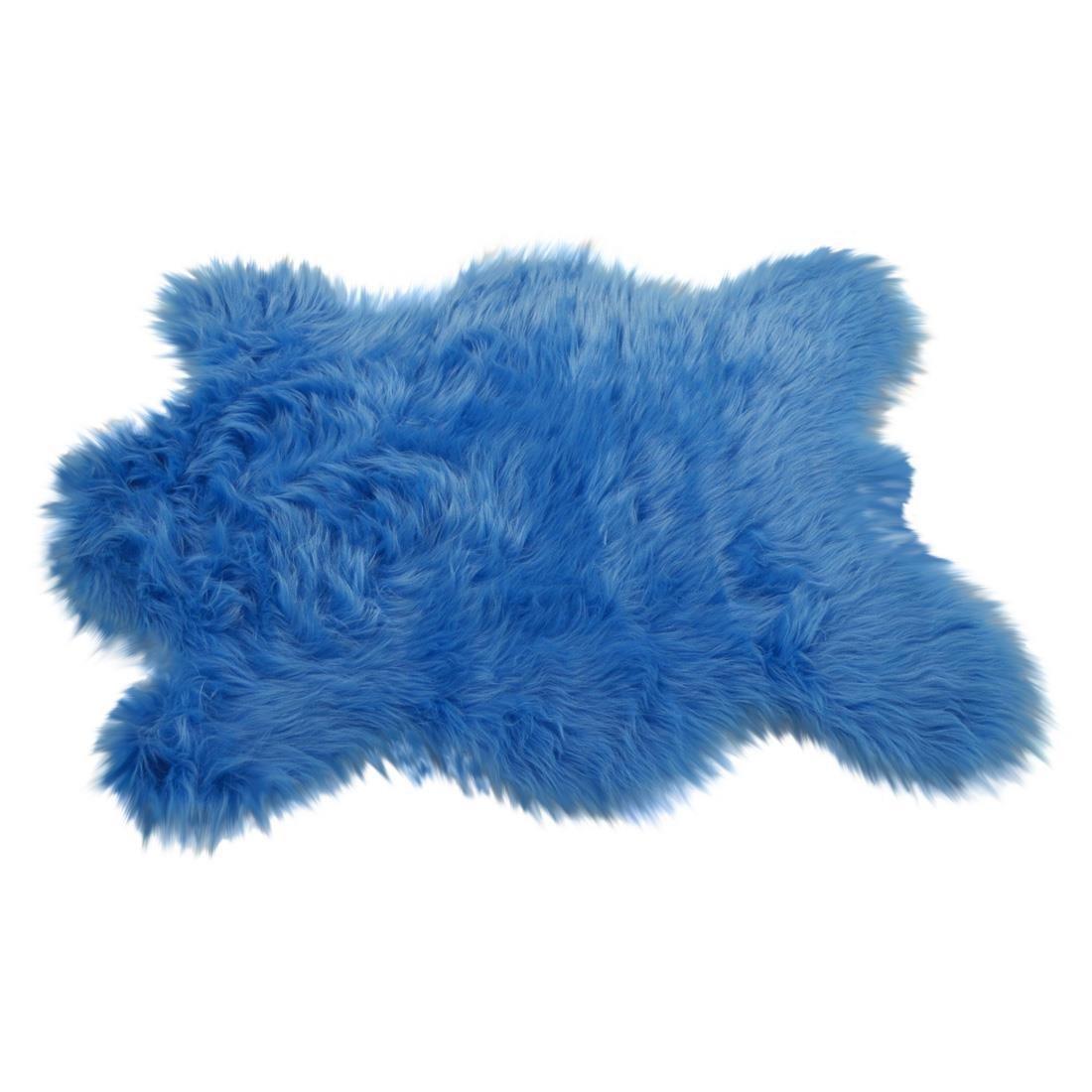 Flokati in Tierfellform mit 70mm Hochflor (synth.), Vorleger  Teppich 140x190cm, blau