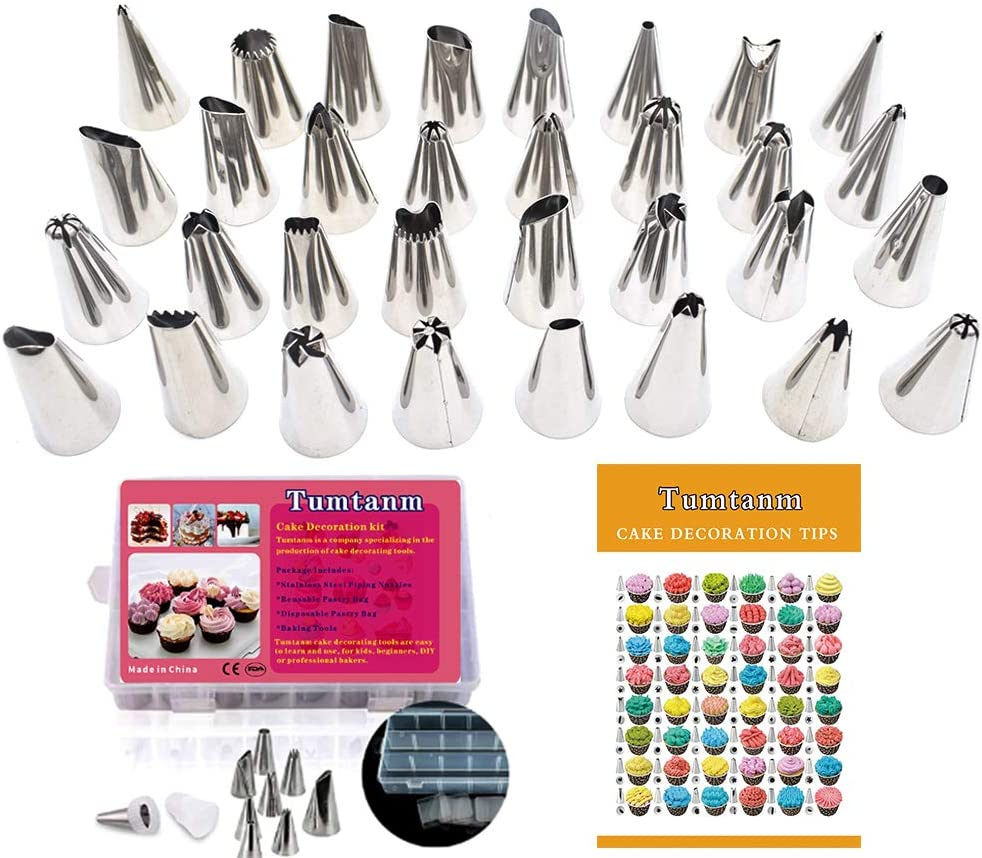 accessori da forno per principianti Piping Nozzles Set Tumtanm 32 diverse punte per tubazioni e 1 sacchetto in silicone kit di decorazione Strumenti di decorazione per torte
