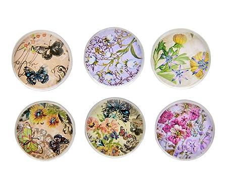 Juego de 6 imanes para nevera de cristal artificiales, flores ...