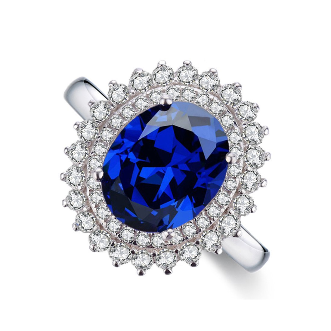 Chic Code Sterling Silver Created Blue Sapphire Engagement Ring for Women (white-gold-plated-silver, 8)