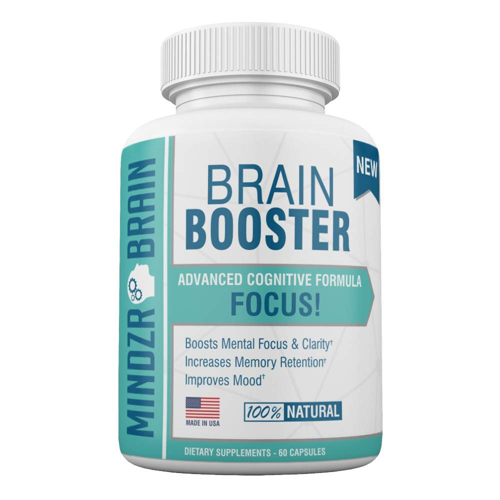 Mindzr Brain Booster Supplement (60 Capsules) Smart, Natural Nootropic & Memory Booster | Promote Focus, Clarity, Cognitive Function | Balance Mood, Fortify Health