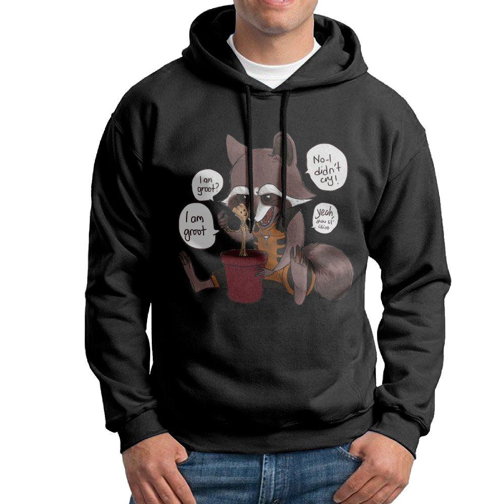 Men Good Friend Cartoon Rocket And Baby Groot Fashion Hooded Sweatshirt Pullover