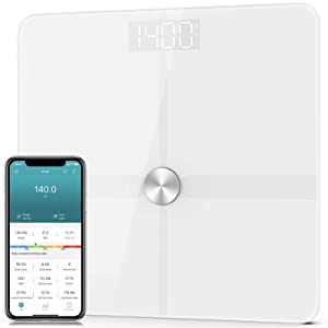 1 BY ONE Bluetooth Body Fat Scale for Body Weight, Smart Digital Bathroom Weight Scale with Most Accurate ITO Technology, BMI,14 Measurements, 6 AAA Batteries, Body Tape Measure Included, 400lbs