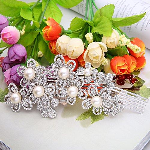 Ever Faith - Cristal Autrichien Fleur Perle Artificielle Peignes Clair Ton d'Argent N00199-1