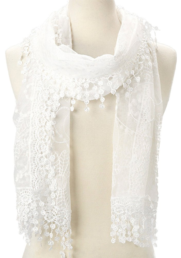 Women's lightweight Feminine lace teardrop fringe Lace Scarf Vintage Scarf Mesh Crochet Tassel Cotton Scarf for Women (WHITE)