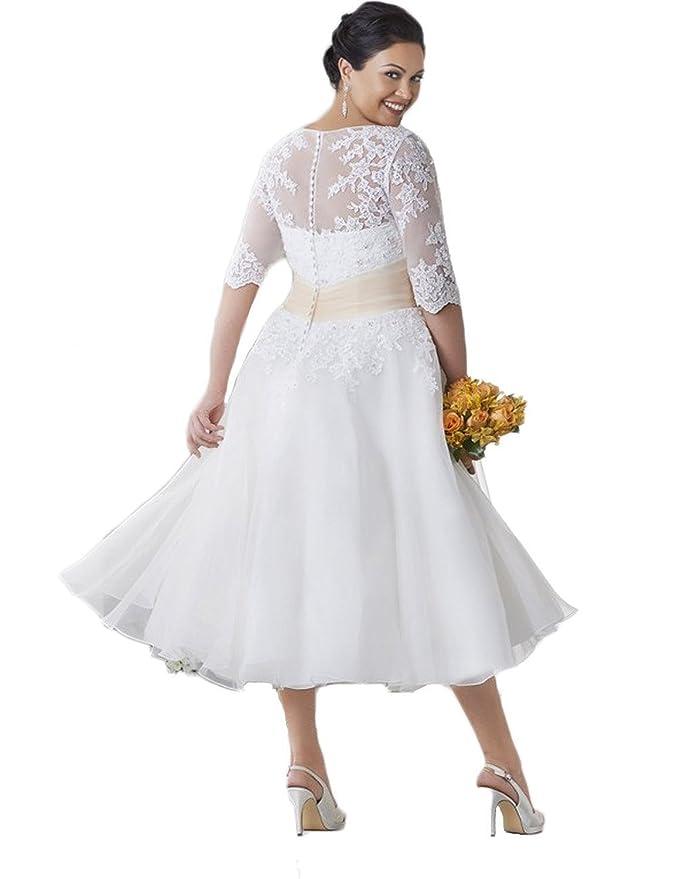 8ee4a096e04 Faironline Women s Half Sleeve Tea Length Lace Wedding Dress Plus Size For  Bride at Amazon Women s Clothing store