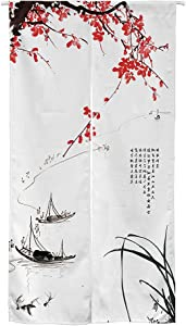 Ofat Home Chinese Traditional Painting Doorway Curtain Tapestry Ink Boat Drawing Door Curtain for Home Decor 33.5